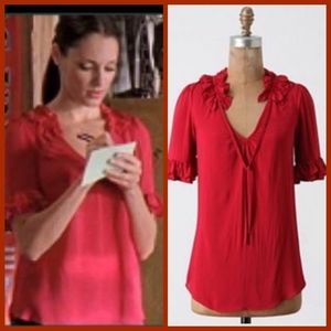 Anthropologie Odille Bianka Red Ruffle Blouse Top